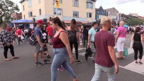Toronto, Ontario, Canda August 2019, Diverse crowd of people enjoying the Greek village on The Danforth