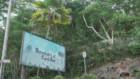 Aguadilla / United States - 10 11 2018: Crash Boat Beach Sign in Puerto Rico