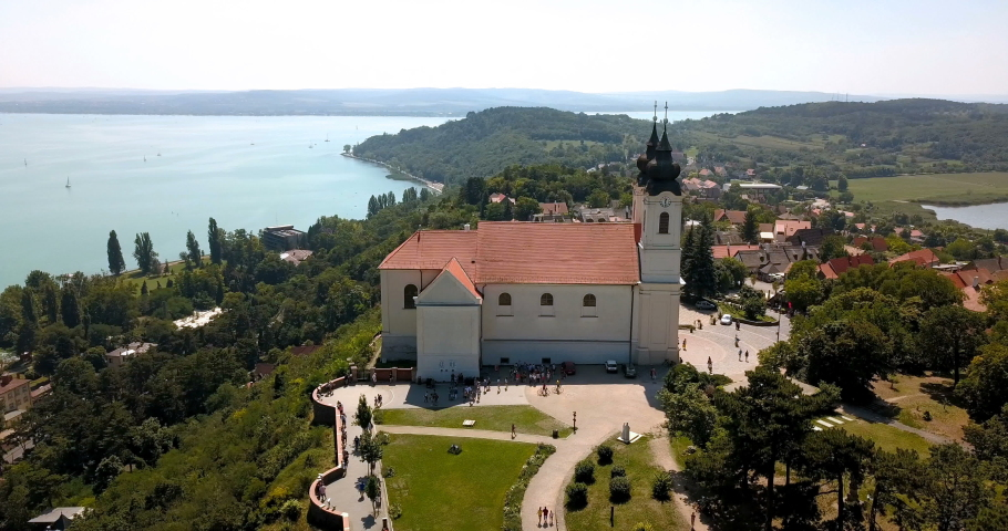 Aerial view of the Tihany Abbey at Lake Balaton Royalty-Free Stock Footage #1035142547