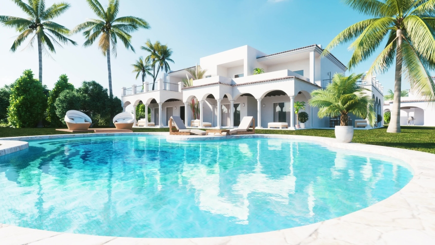 Private luxury Villa with Swimming Pool and palms. Realistic 3d visualisation in 4k resolution.