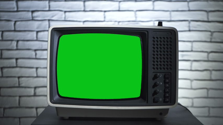 Video of retro tv with chroma key on wall background | Shutterstock HD Video #1035165239