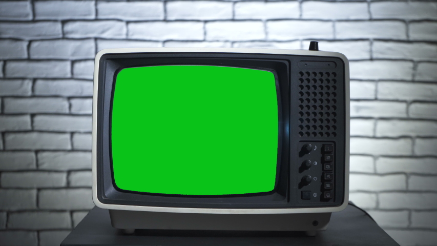 Turning on the retro tv with chroma key | Shutterstock HD Video #1035165248