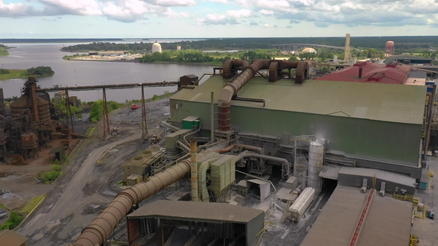 Old industrial American factory aerial video