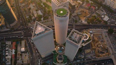 Business city center of Tel Aviv, Israel: 10.07.2019: 4k aerial drone skyline