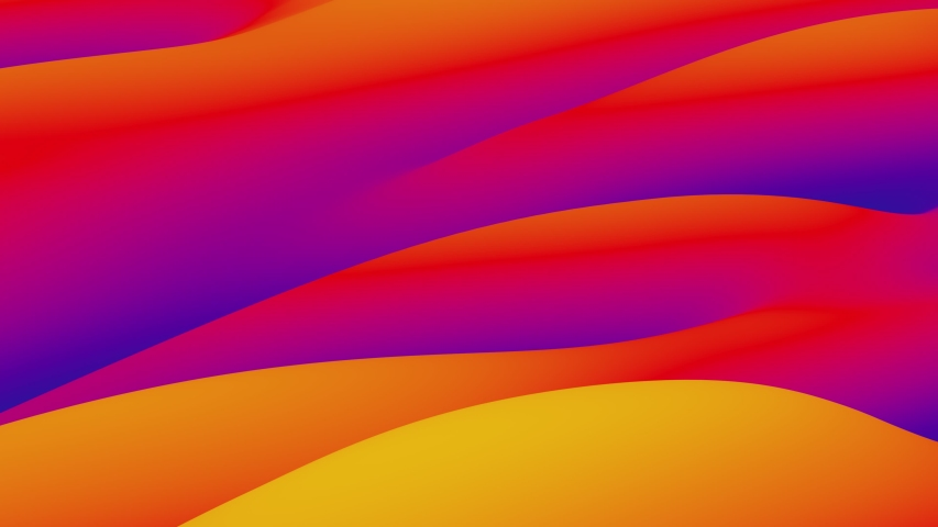 Looped animation. Abstract colorful wavy background in bright blue, orange and red colors. Modern colorful wallpaper. 3d rendering.