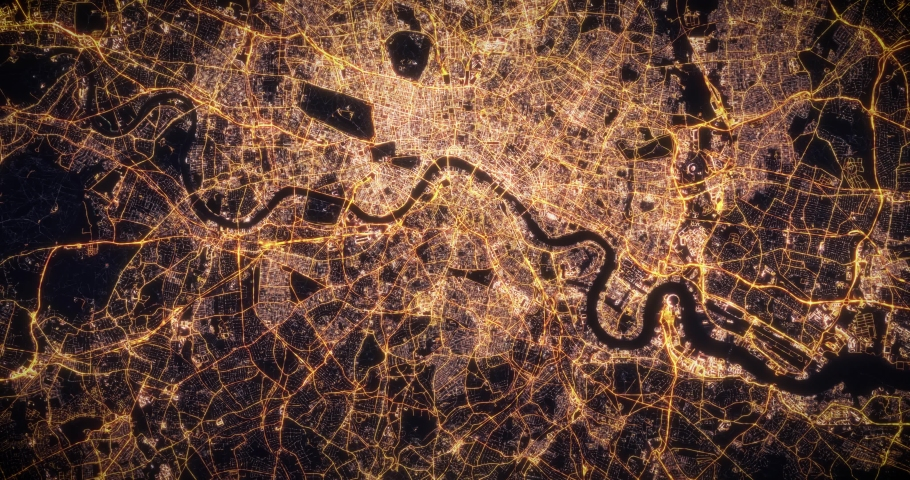 Aerial night view of city of London, UK. Traffic and street light glowing. Camera flying high above, moving closer and rotating from space filming cinematic straight down. 3d animation rendering. | Shutterstock HD Video #1035207827