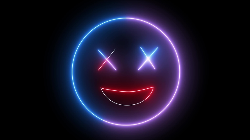 Neon emoji face, smiling sign. Web character with neon, glowing light. Isolated smiley face.