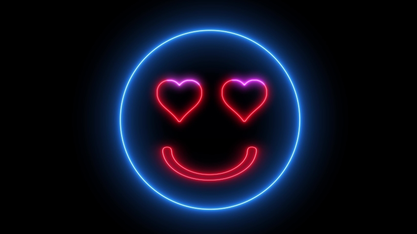 Neon heart eye smiley face. Glowing led light, smiling lover emoji.