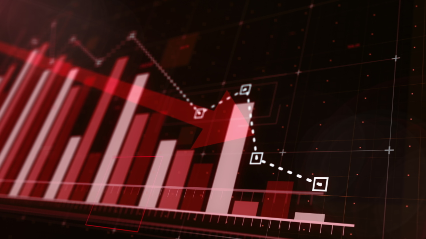 Beautiful 3D animation of a red bar graph fall down following the arrow, ultra HD 4K