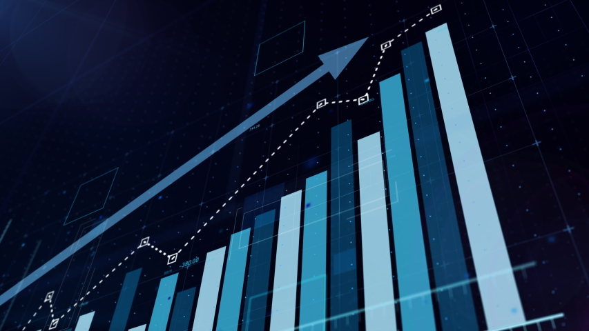 Beautiful 3D animation of rising blue bar graph following the arrow, ultra HD 4K #1035217478