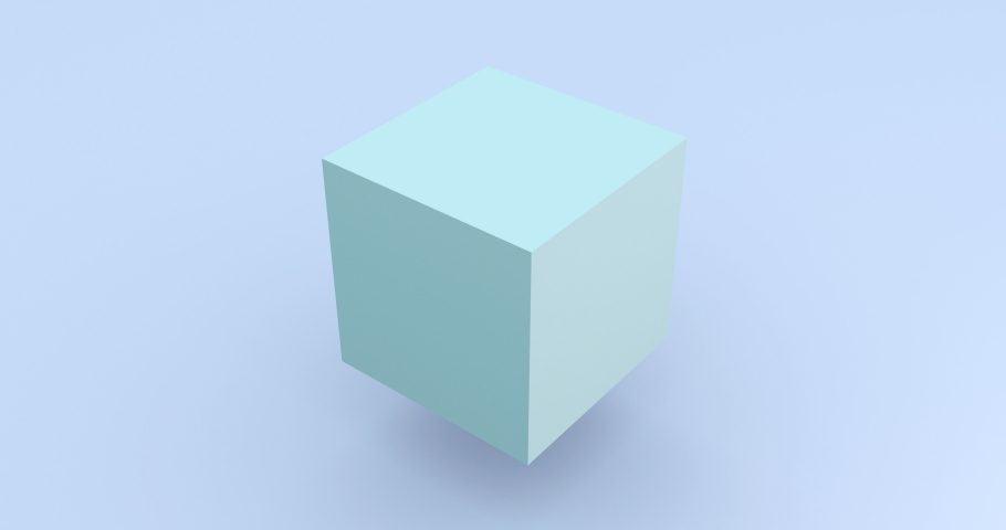 Light blue cube rotating 3d footage. Isometric block assembly motion. Cube parts moving and shifting isolated on blue background rendering animation. Geometric shape construction looped 4k video