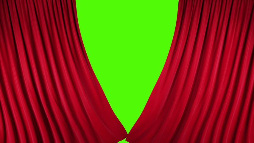 Red velvet theater curtains in motion. Opening and closing curtains with green chroma key. | Shutterstock HD Video #1035249854