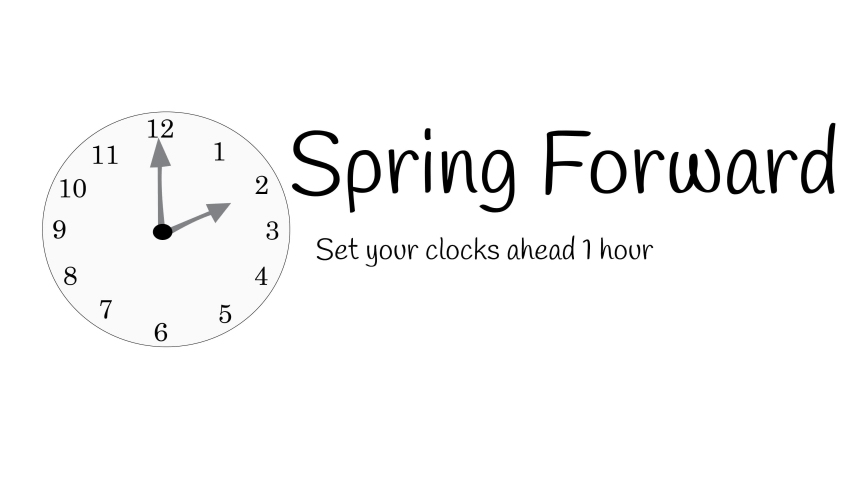 Illustrated clock with message spring forward to start daylight savings time on white. Royalty-Free Stock Footage #1035250760