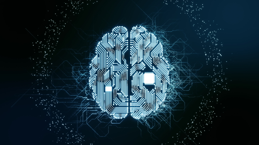 Artificial intelligence (AI) glowing brain animation, modern computer future technology concepts. Data mining, deep learning, big data. Brain processing information with printed circuit board design. | Shutterstock HD Video #1035278156
