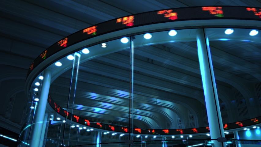 Circle display of stock exchange center. Royalty-Free Stock Footage #1035281762