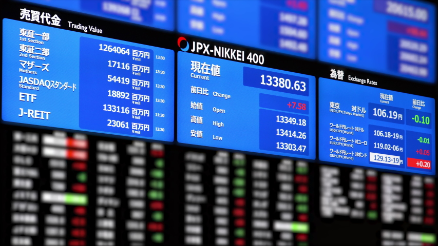 ELECTRIC BULLETIN BOARD of stock market information. Jpanese transration: Jpanese transration: Trading value, Exchange rate, current, open, high, low, Yen, Dollar, Euro. Pound.