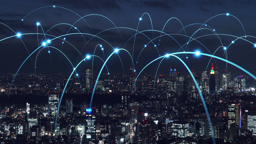Smart city and communication network concept. Royalty-Free Stock Footage #1035287192