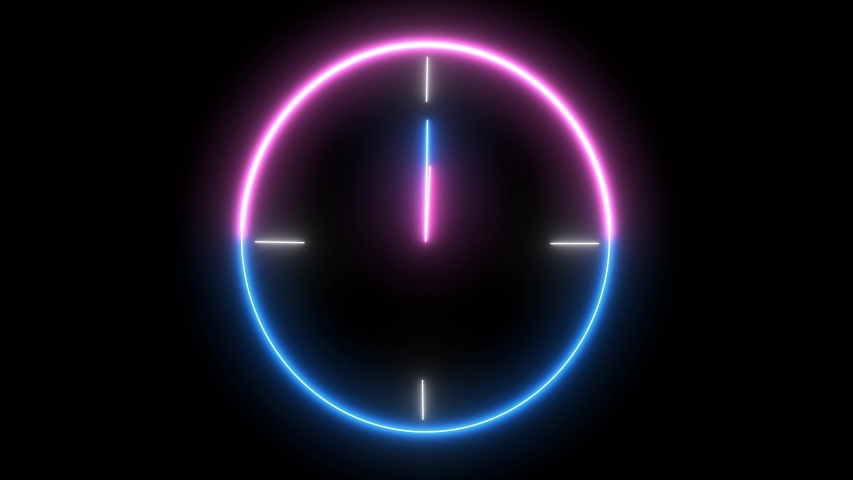 Neon analog clock, timer object. Time is running out, 1 day, 24 hour is going speedy.  | Shutterstock HD Video #1035290528