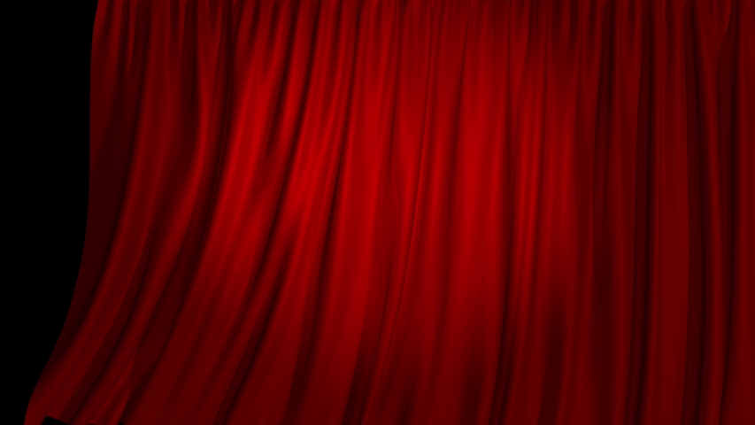 Horizontal opening curtain, with alpha mask. High detailed cloth. A beautiful stage curtain for a theater or opera stage. Layout for your project design  | Shutterstock HD Video #1035293855