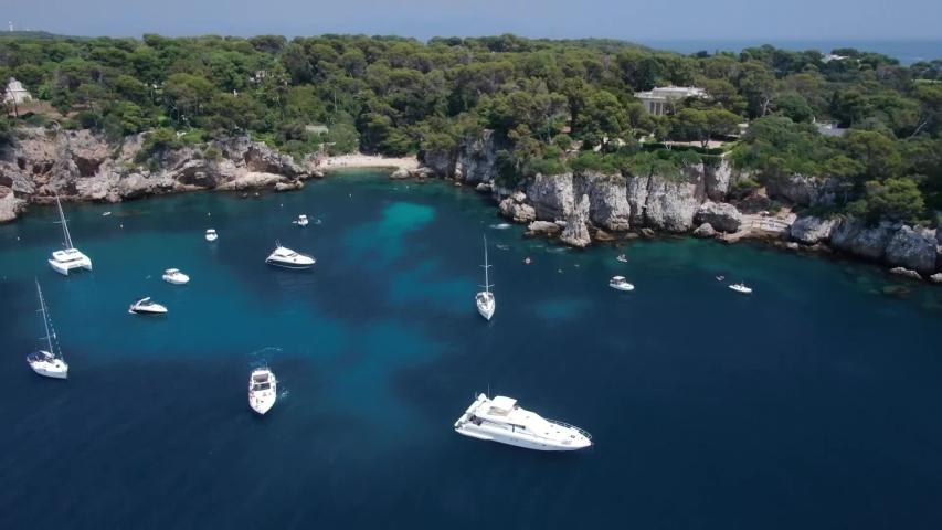 Aerial video of sea. Monte-Carlo. Monaco. French Riviera. Nice. Yacht. Ship.