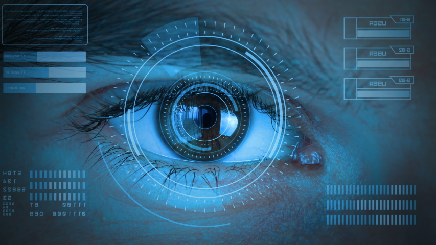 Human eye with futuristic vision system. Control and protection of persons, control and security in the accesses technology. Concept of vision control and protection. Stylized blue cold tint color. Royalty-Free Stock Footage #1035339797