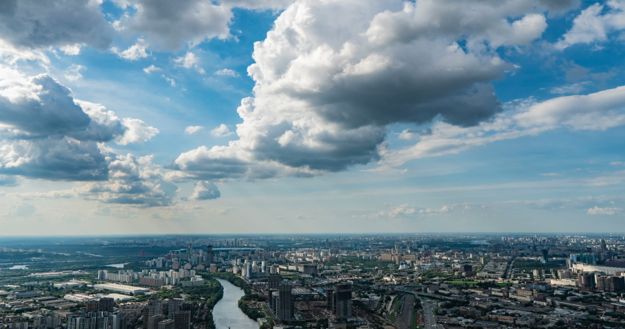 Aerial view of the city. 4k. Time lapse. Moscow arial view