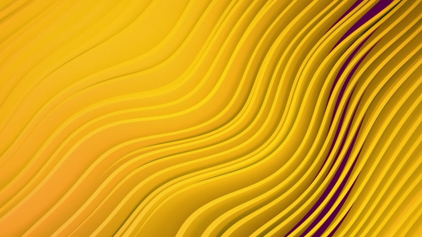4k 3D animation of rows and rows of colorful popping yellow stripes rippling. Colorful wave gradient animation.. Future geometric patterns motion background. 3d rendering Royalty-Free Stock Footage #1035366557
