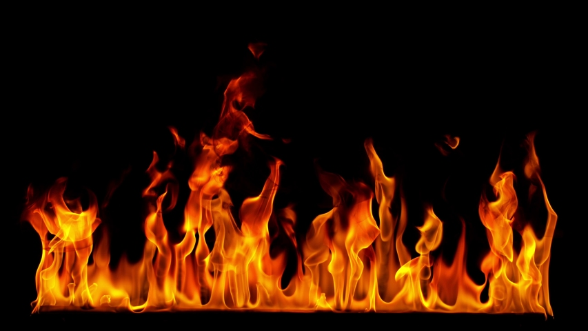 Fire Flames in 1000fps Super Slow Motion Isolated on Black Background.
