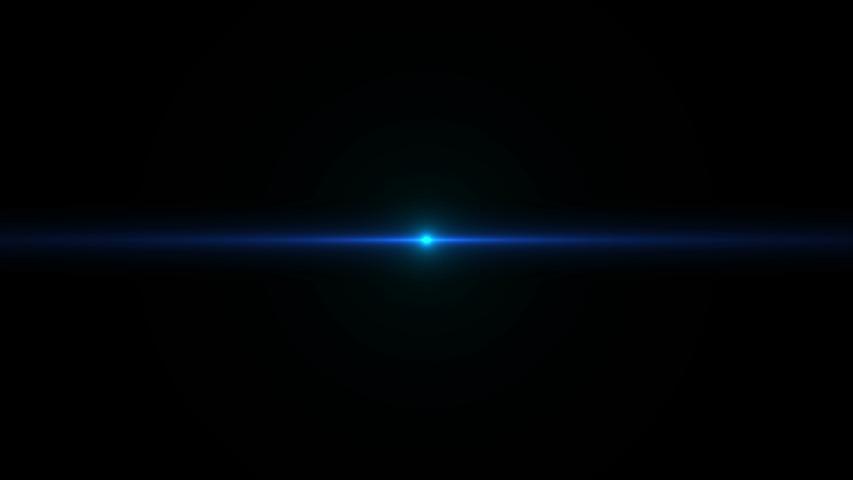 Horizontal flash of blue light on a dark background. Magic animation. #1035399473