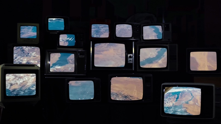Saudi Arabia as Seen from Space, on Many 80s TVs. Elements of this Video furnished by NASA.  | Shutterstock HD Video #1035404480