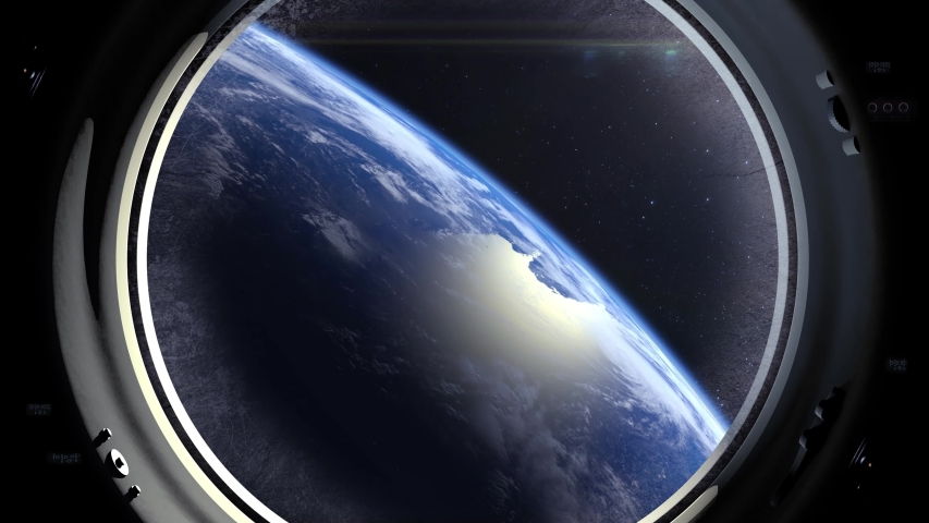 A view of the Earth through the porthole of a spacecraft. Earth is approaching. Realistic atmosphere. 3D Volumetric clouds. Space. | Shutterstock HD Video #1035411170
