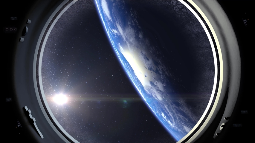 A view of the Earth through the porthole of a international space station. The spacecraft is approaching the earth. Realistic atmosphere. 3D Volumetric clouds. ISS. | Shutterstock HD Video #1035411173