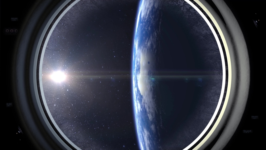 Earth through the porthole of spaceship. Earth is on the right of the screen. The spaceship is approaching. Realistic atmosphere. 4K. | Shutterstock HD Video #1035411182