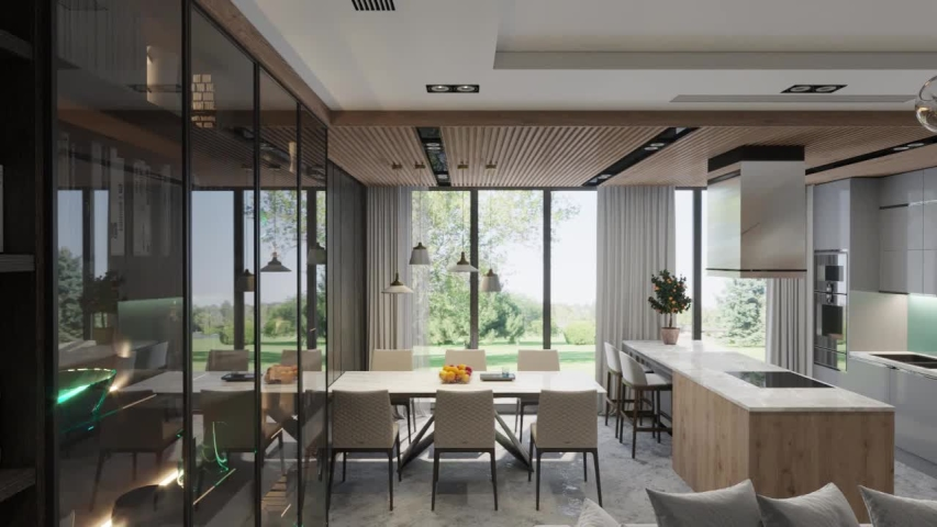 3d render. Camera span across a modern open living space with kitchen. Royalty-Free Stock Footage #1035416660
