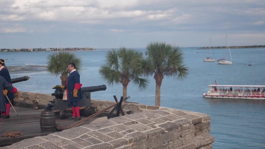 St. Augustine , FL / United States - 12 16 2018: Cannon firing demonstration at Castillo de San Marcos in St. Augustine, FL, USA