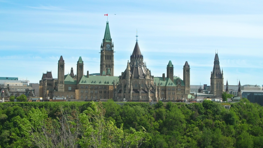 View of the Parliament of Canada buildings from behind   Shutterstock HD Video #1035432242