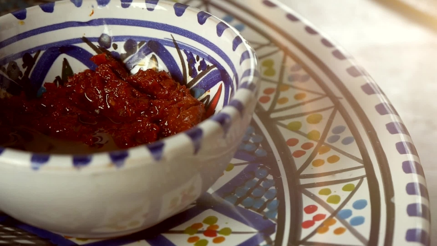 Traditional Arabic Cuisine Sauce In Painted Porcelain Plate   Shutterstock HD Video #1035454703