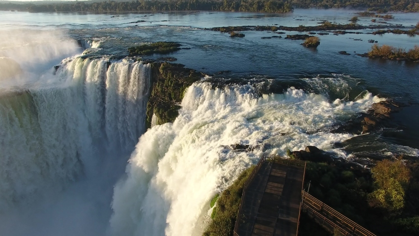 Foz do Iguaçu, Paraná / Brazil - 08/03/2019: Aerial view of the Devil's Throat, Iguazu Waterfalls National Park, one of the seven natural wonders of the world