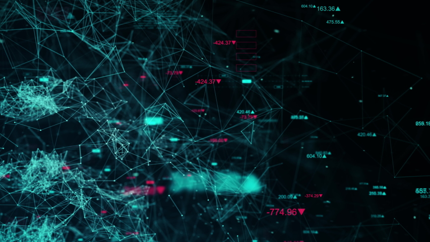 Business data network with stock numbers and graphs, beautiful 3D animation, ultra HD 4K seamless loop. Royalty-Free Stock Footage #1035455657