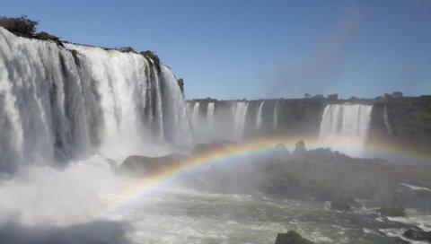 Foz do Iguaçu, Paraná / Brazil - 08/04/2019: Iguaçu Waterfall (Iguazu Falls), Iguaçu National Park