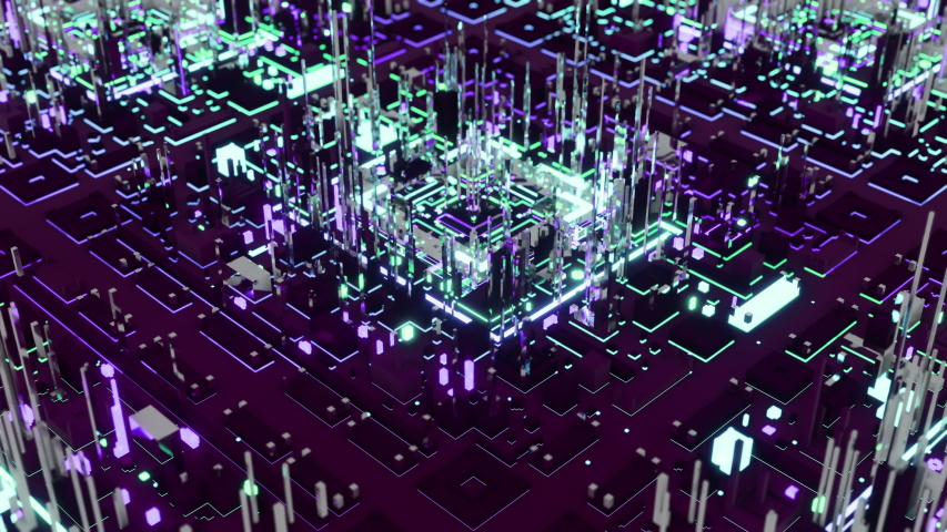Blockchain city movie. 3D abstract animation that looks like a night city stylized as a computer chip. Technology background. Tech science background. #1035457442