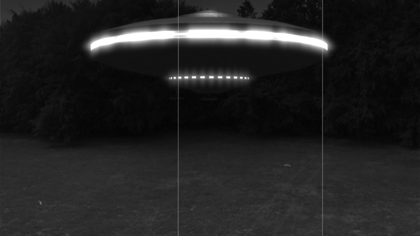 UFO: Flying Saucer Alien Space Ship Landing on a Meadow (Black and White)   Shutterstock HD Video #1035467225