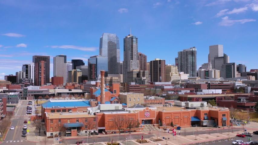 DENVER, COLORADO - CIRCA 2018 - Good aerial of downtown Denver Colorado business district and establishing skyline.