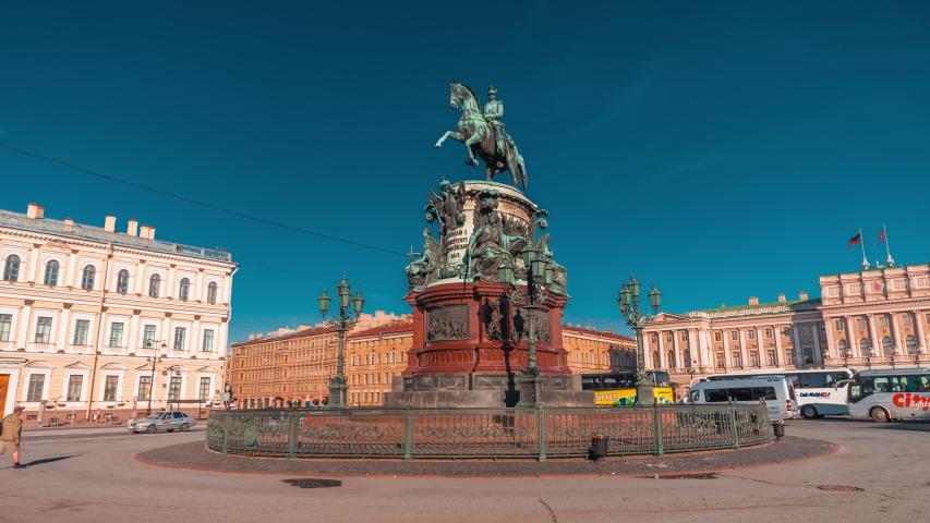 Sunny timelapse (hyperlapse) around of Monument to Nicholas 1 in Saint-Petersburg with Mariinsky Palace