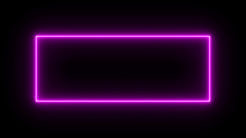 Sign in neon style. Popular abstract rectangle with neon blue purple spectrum lines. Animation fluorescent ultraviolet light glowing neon lines. Seamless loop motion graphics. 4K