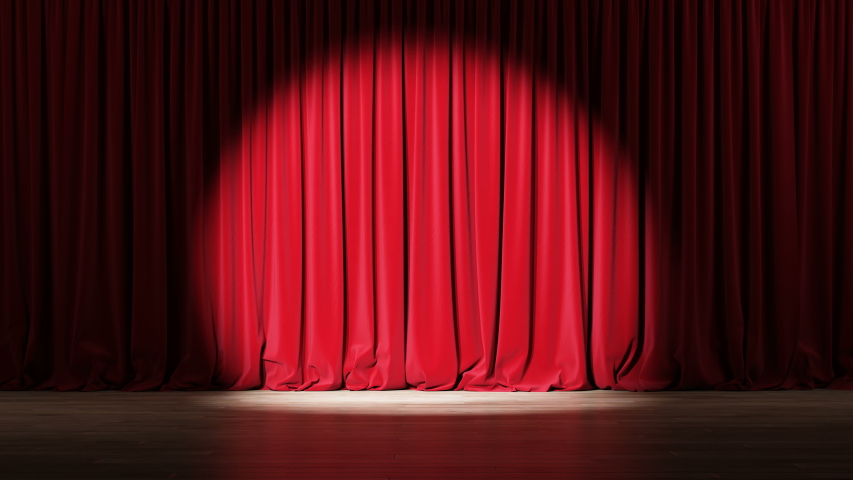 Empty theater stage with red velvet curtains with spotlights. Royalty-Free Stock Footage #1035504881