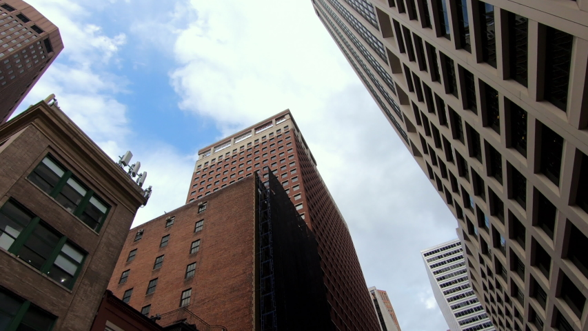 New York City skyscraper buildings driving moving tracking low angle   Shutterstock HD Video #1035510554