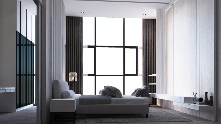 Interior creation of modern luxury style bedroom with bed and decorate wall and cabinet built in on wooden floor. 3d animation render