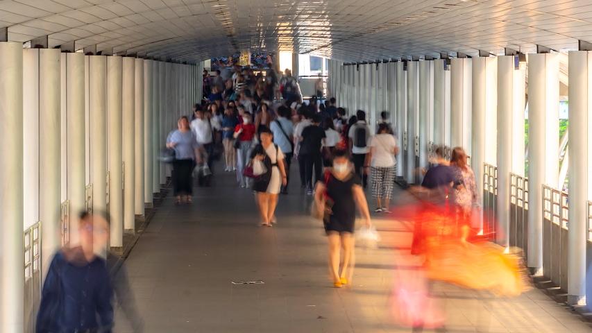 4k, Time lapse Bangkok people on  Walking way Business District of bangkok Asia Thailand | Shutterstock HD Video #1035583742