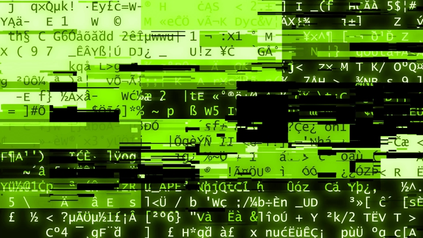 Computer screen software or database data information letters with broken technology glitch overlay - computer virus or internet system hacking concept - 4K UHD loopable